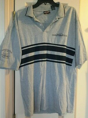 Harley-Davidson 2-Button T-Shirt Gray Mens Size Large Southside Indy