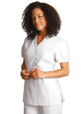 Adar Plus Size Women Medical Nurse Embroidered Crossover Mock Wrap Scrub Top