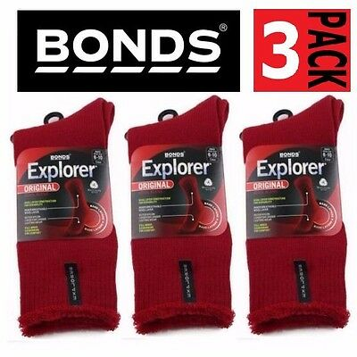 3 PACK x BONDS EXPLORER ORIGINAL THICK WOOL BLEND REGIMENTAL RED SOCKS SIZE 6-10