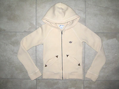 Vintage Retro Womens Adidas Hooded Tan Warm Up Sweater Hoodie Jacket USED SMALL