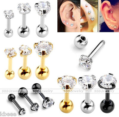 3pcs 16G Steel Bar 4mm Round Zirconia Ear Cartilage Helix Stud Barbell Piercing