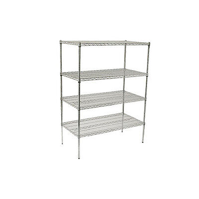Winco VCS-1848, 18x48x72-Inch 4-Tier Wire Shelving Set, Chrome Plated, NSF