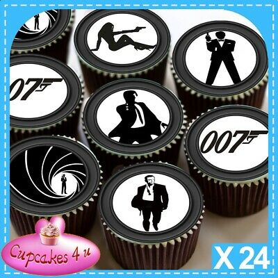 24 X James Bond Black And White Cupcake Toppers Edible Premium Rice Paper 3283