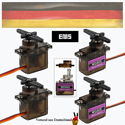 4X MG90S RC Metal Gear Micro Servo Motor für Robot Helicopter Airplane Controls