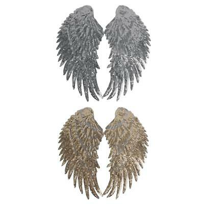 Gold/Silver Sequin Wing Embroidery Patch Lace Applique Motif Dress Dance Costume