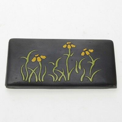 Vintage Ando Repousse Cloisonne Japanese Copper Trinket Box Yellow Flowers