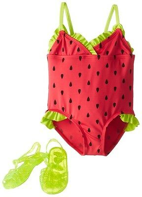 Wippette Little Girls' Watermelon Jellys One Piece Swimsuit, Cherry, 3T