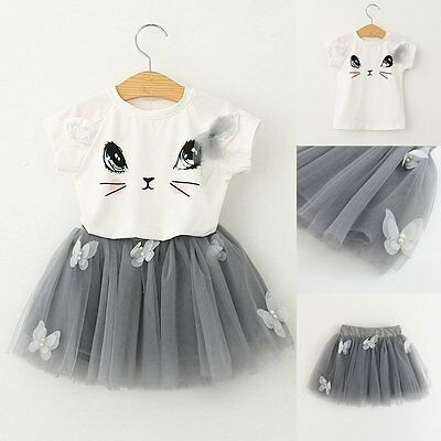 2PCS Kids Baby Girls Cat T-shirt Tops+Tulle Tutu Dress Skirt Outfits Clothes Set