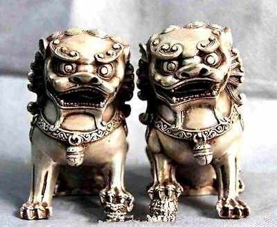 a pair Magnificent Chinese White Copper Fengshui Evil Foo Dog lion Beast Statue