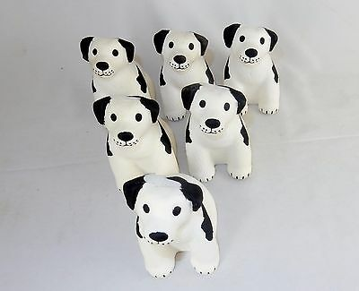 Black & White Dog Shaped Stress Relief Toys, Lot of 6, Squeezable Foam ~ #SB-537