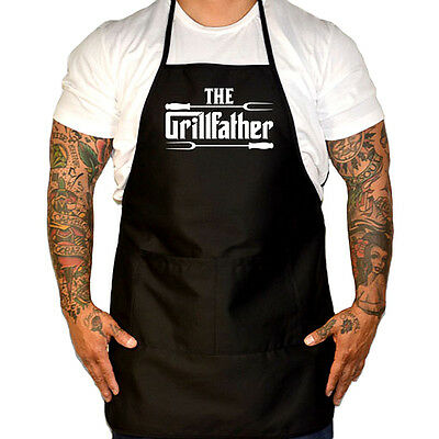 Men's Cartel Ink The Grillfather Apron Black Grilling BBQ Barbecue