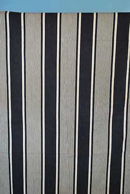 Antique French Ticking In A Dark Blue And White Stripe
