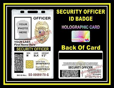 SECURITY OFFICER ID Badge/ Card >CUSTOM W/ Your Photo & Info< Holographic GUARD