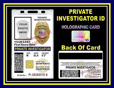 PRIVATE INVESTIGATOR ID Badge/ Card >>CUSTOM W/ Your Photo & Info<< Holographic