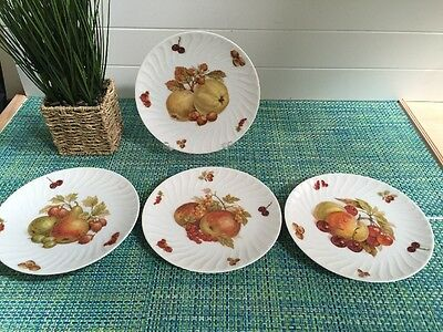 Set Of 4 Mitterteich Old Nuremberg Bavaria Germany Luncheon Plate with Fruit.