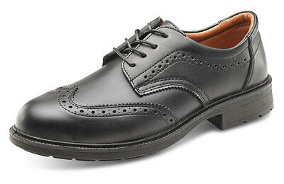 Premium Safety Brogue Mens Black Leather Steel Toe Cap Work Office Shoes