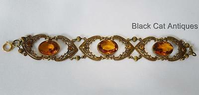 """Unique Victorian-Style Bracelet Amber-Colored Faceted Crystals - Fancy 7"""" Long"""