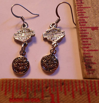Vintage Harley earrings collectible old Hd motorcycle lady rider biker jewelry