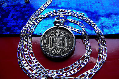 "1944 Spanish Golden Brass Un Peseta Pendant on 26"" Sterling Silver Chain"