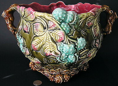 Antique French Majolica Barbotine FRIE ONNAING Chestnut Jardiniere Planter