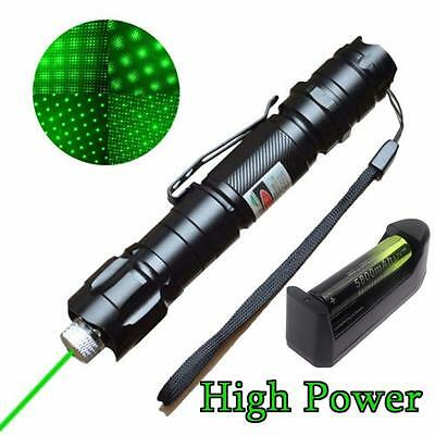 Powerful Green Laser Pointer Pen Beam Light Lazer 532nm+18650 Battery+Charger AD