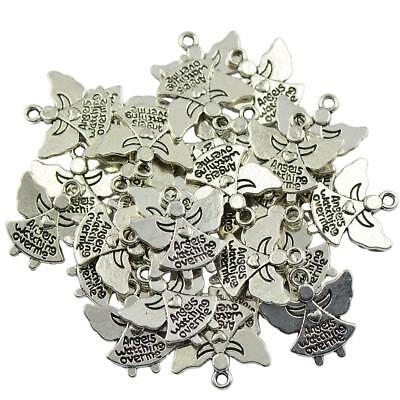 30pcs Silver Angel Charms Pendant Findings For Necklace Jewelry DIY Making
