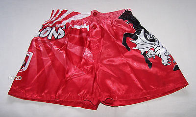St George Illawarra Dragons NRL Boys Red Satin Boxer Shorts Size 7 New