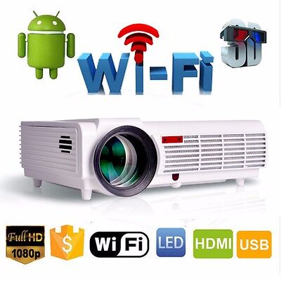 5000 Lumen 1080P Home Theater Multimedia Android 4.4 HDMI USB LCD LED Projector