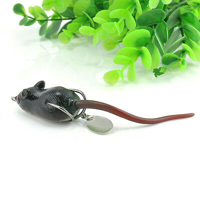 Black Soft Rubber Mouse Fishing Lures Baits Top Water Tackle Hooks Bass Bait FT