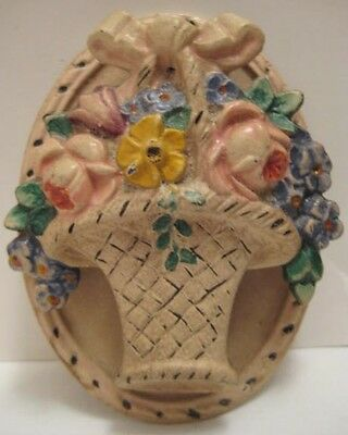 Beautiful Old Antique Cast Iron Figural Miniature Flower Basket Door Knocker