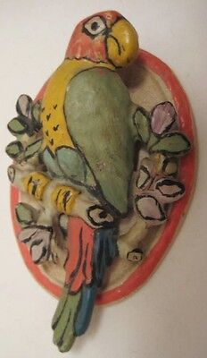 Old Cast Iron Figural Tropical Parrot Door Knocker - NICE!
