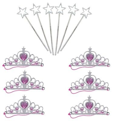 6 x TIARAS AND 6 x  ANGEL WANDS SET ~ LOOT / PARTY BAG FILLERS ~ KIDS PARTIES