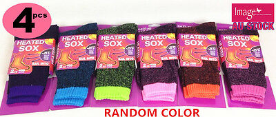 4x Women Heated Sock Heat Thermal Socks UK 4-8 Warm Work Boot RandomColor