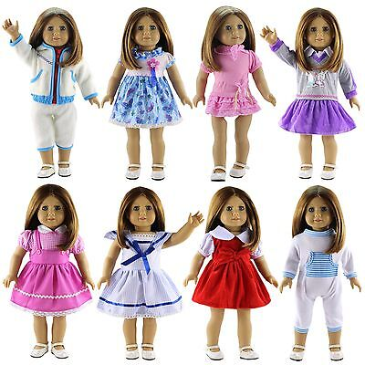 """New 8 PCS Doll Clothes Lot Party Dress Outfit For 18"""" inch American Girl Doll"""