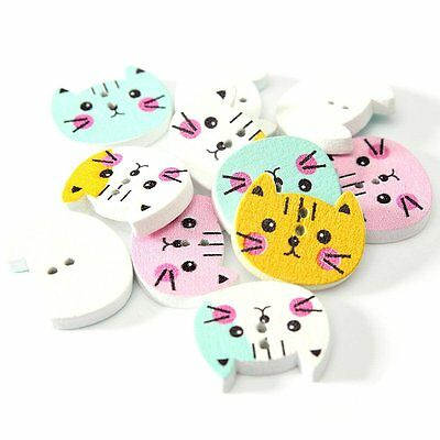 CF615 100pcs Animal Wooden Button Sewing Scrapbooking DIY Craft Colorful 2 Holes