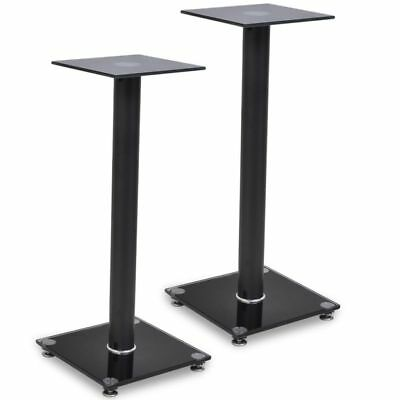New 58cm 2pcs Black Glass Aluminium Audio Speaker Stand (Each with 1 Pillar)