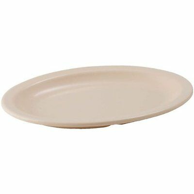 Winco MMPO-138, 13x8-Inch Oval Melamine Platters with Narrow Rim, Tan, 1 Dozen,