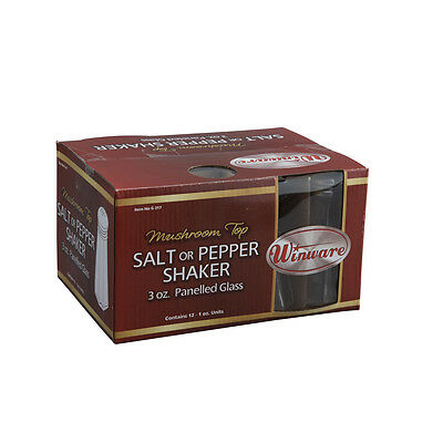 Winco G-317, 3-Ounce Glass Shaker with Mushroom-Shaped Stainless Steel Top, 1 DZ