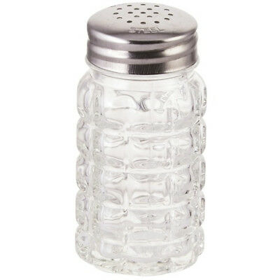 Winco G-118, 2-Ounce Glass Shaker with Flat Stainless Steel Top, 1 Dozen
