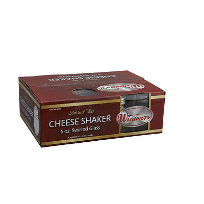 Winco G-308, 6-Ounce Glass Cheese Shaker with Slotted Stainless Steel Top, 1 Doz