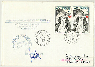 1981-Lettre Taaf-Antartic-Manchots-Timbre.Yt.81