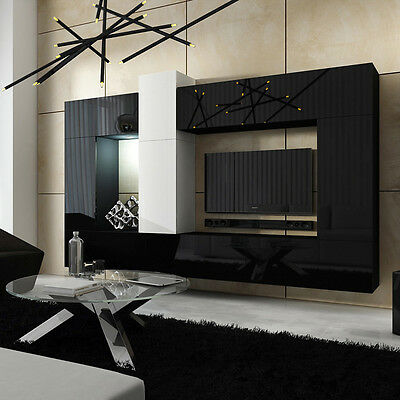 moderne wohnwand lofter 22 m bel hochglanz wohnzimmer set h ngewohnwand led eur 468 00. Black Bedroom Furniture Sets. Home Design Ideas