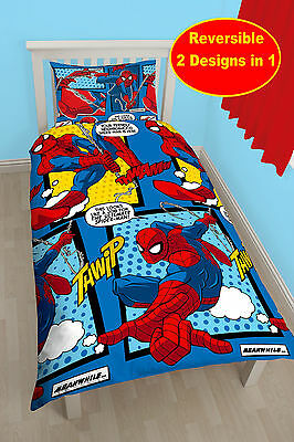New Marvel Spiderman Webhead Single Duvet Quilt Cover Set Boys Blue Red Bedroom