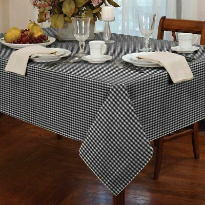 "Gingham Check Black White Square 54X54"" 137X137Cm Table Cloth"