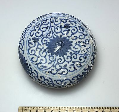 Porcelain Box Kangxi c1660 Chinese Shipwreck Blue Chrysanthemum
