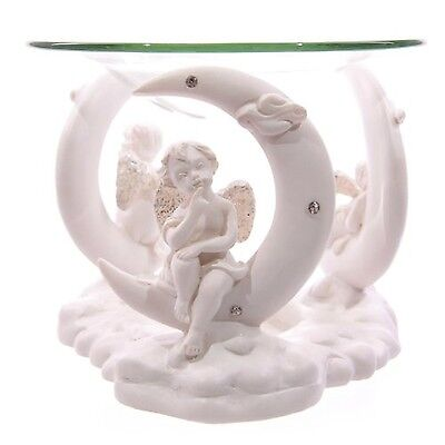 White Cherub and Crescent Moon Oil Burner