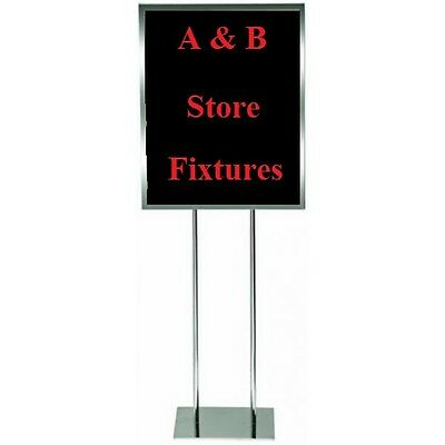 Double Side Chrome Bulletin Sign Holder Poster Sign Floor Sidewalk Stand 22 x 28
