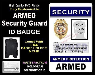 """Security Guard ID Badge (""""ARMED"""")  CUSTOM W/ YOUR PHOTO / INFO ~ Holographic PVC"""