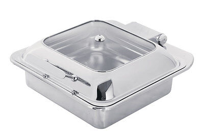 PrestoWare PWI-602, 6-Quart Induction Square Chafing Dish with Glass Top, Drop-I
