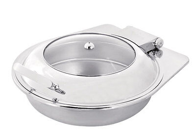 PrestoWare PWI-502, 5-Quart Induction Round Chafing Dish with Glass Top, Drop-In